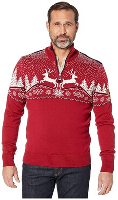 Dale of Norway Christmas Masculine Sweater (Red Rose/Off-White/Navy) Men's Clothing