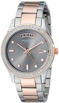 Akribos XXIV Women's AK691TTR Impeccable Silver-tone and Rose-tone Stainless Steel Crystal Bezel Bracelet Watch