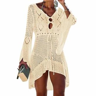 UMIPUBO Bikini Cover Up Hollow Out Beachwear V Neck Loose Knit Beach Dress V Neck Crochet Bikini Swim Bathing Suit Cover Up Bell Sleeve Swimsuit Coverups Beige