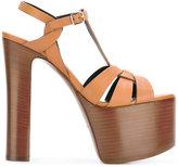 Saint Laurent Maxi platform sandals - women - Cotton/Calf Leather/Leather - 36