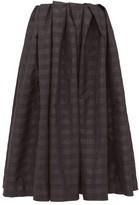 Marques Almeida Marques'almeida - Pleated Checked Taffeta Midi Skirt - Womens - Black