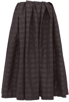 Marques Almeida Pleated Checked Taffeta Midi Skirt - Black