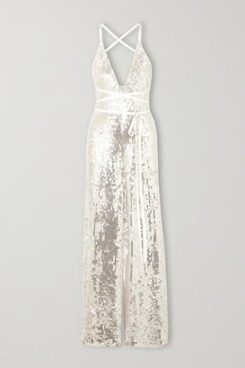 Temperley London Bardot Sequined Crepe Jumpsuit - Platinum