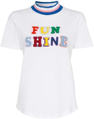 Mira Mikati Funshine flocked applique striped cotton t-shirt