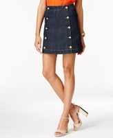 MICHAEL Michael Kors Petite Button-Front Denim Mini Skirt