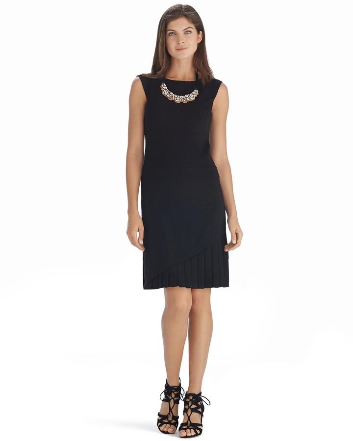 White House Black Market Sleeveless Pleat Hem Shift Black Dress