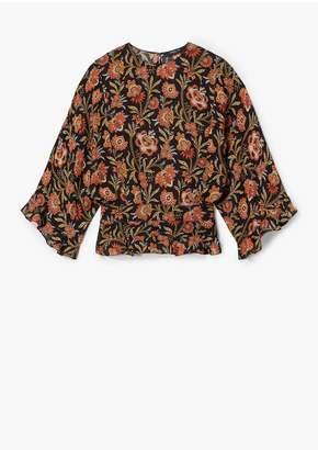 Derek Lam Indian Floral Short Sleeve Blouse With Ruffle Hem Detail