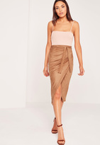 Missguided Faux Suede Wrap Midi Skirt Nude
