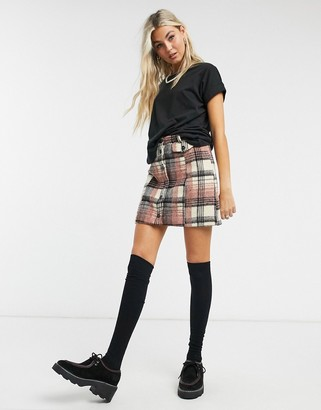 Emory Park button front mini skirt in brushed check co-ord