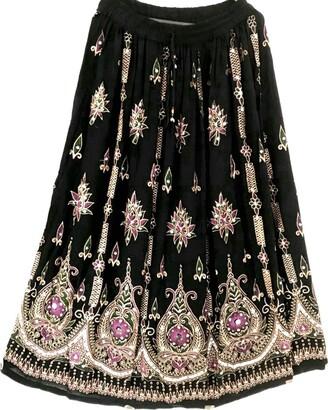 Dancers World Ltd Stunning Ladies Indian Boho Hippie Gypsy Sequin Summer Sundress Maxi Skirt M L (BLACK PINK)