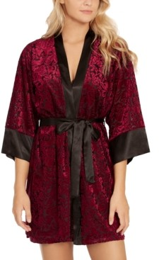 Linea Donatella Jacquard Velvet Chemise Nightgown & Wrap 2pc Set