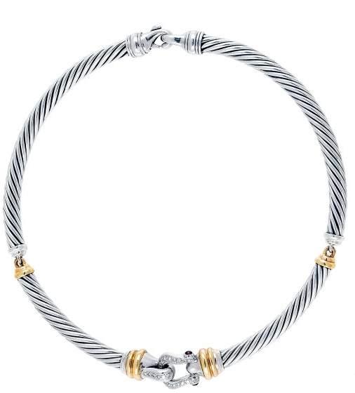 David Yurman Cable Choker Buckle Necklace with Diamonds