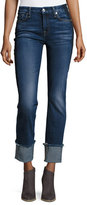 7 For All Mankind Fashion Cuffed Boyfriend Jeans w/Raw-Edge Hem, Blue