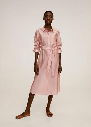 MANGO Belt shirt dress light pink - 2 - Women