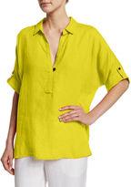 Go Silk Oversized Short-Sleeve Linen Tunic