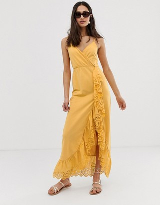 Asos Design DESIGN broderie trim wrap maxi dress-Yellow