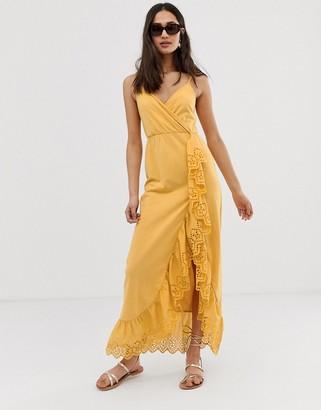Asos Design DESIGN broderie trim wrap maxi dress