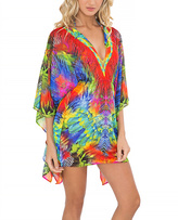 Luli Fama Red & Green Button-Front Caftan