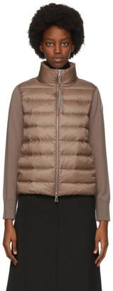 Moncler Taupe Down Paneled Cardigan Jacket