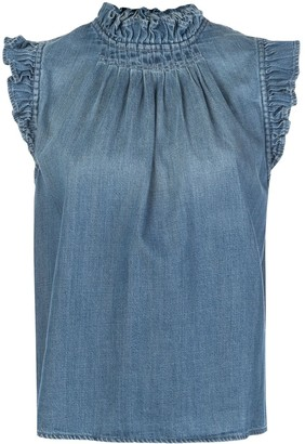 Frame Ruffled Denim Sleeveless Top