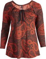 Aller Simplement Orange & Black Paisley Tie-Neck Tunic - Plus Too