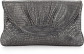 Lauren Merkin Ava Shimmer Crocodile Embossed Clutch, Gray/Silver