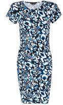 Select Fashion Fashion Womens Blue Mix Animal Mini Bodycon Dress - size 10