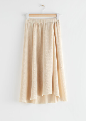 And other stories Diagonal Pleats Midi Skirt