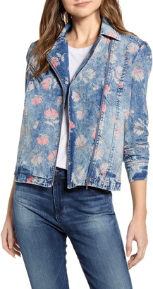 WASH LAB Floral Print Denim Moto Jacket