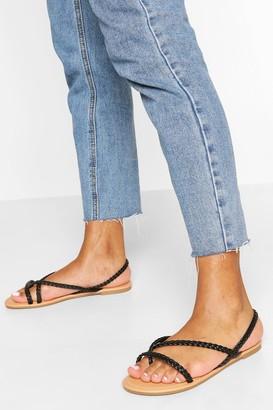 boohoo Plaited Strap Toe Post Sandals