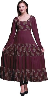 Bimba Mulberry Purple Paisley Womens Printed Anarkali Dress Long Kurta Kurti Full Sleeve Ethnic Dress Medium