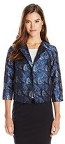 Anne Klein Women's Abstract Jacquard Flyaway Jacket