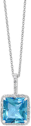 Effy 14K 3.75 Ct. Tw. Diamond & Blue Topaz Pendant Necklace