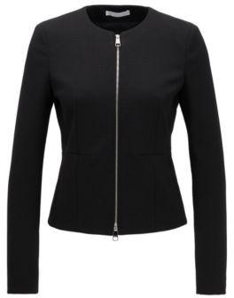 HUGO BOSS Collarless regular-fit jacket in stretch jersey