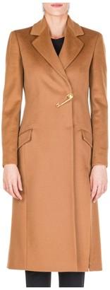 Versace Brooch Detail Textured Coat