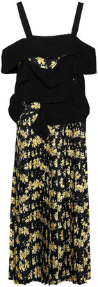 Derek Lam Cold-shoulder Floral-print Silk-twill And Crepe Midi Dress
