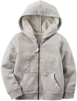 Carter's Baby Girl Screen-Printed Pocket French Terry Zip-Up Hoodie