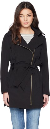 Via Spiga Women's Double Breasted Hooded Fit and Flare Lightweight Trench