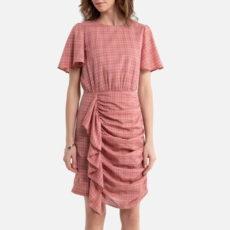 La Redoute Collections Checked Cotton Mix Dress with Ruffles and Short Sleeves