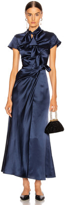Saloni Kelly Dress in Navy | FWRD