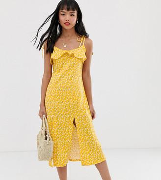 Asos DESIGN Petite midi sundress with splits in ditsy print-Multi