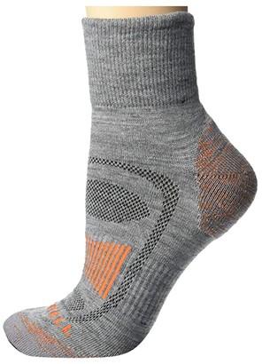 Merrell Merino Wool Cushioned Hiker Quarter Socks 1-Pair (Grey Heather/Flame) Quarter Length Socks Shoes