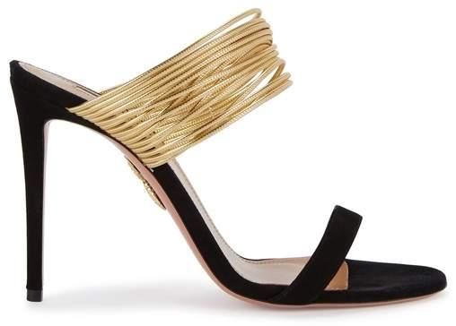 Aquazzura Rendezvous Black Leather Sandals