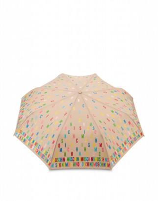 Moschino Openclose Multicolor Lettering Umbrella Woman Beige Size Single Size