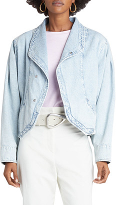 Isabel Marant Shawl-Collar Cropped Denim Jacket