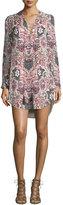 Haute Hippie Long-Sleeve Paisley Silk Mini Dress, Change Will Do You