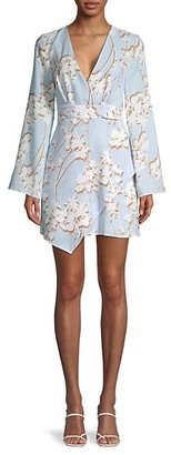 BCBGMAXAZRIA Floral Cocktail Faux Wrap Dress