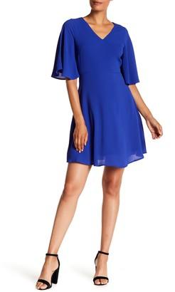 London Times Catalina V-Neck Crepe Dress