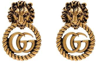 Gucci Lion Head gold-plated earrings