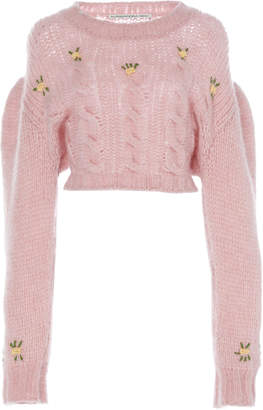 Alessandra Rich Cropped Floral-Embroidered Alpaca and Wool-Blend Sweat